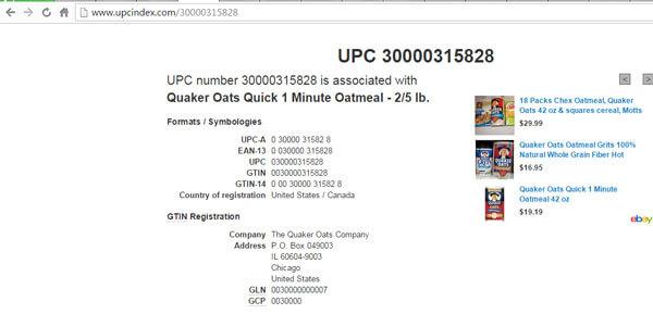 Kiểm tra mã vạch Quaker-Oats thật giả