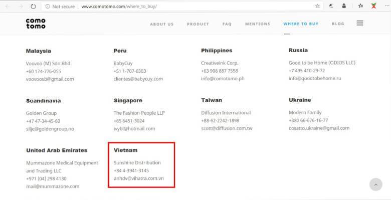 Địa chỉ phân phối độc quyền bình sữa Comotomo tại Việt Nam
